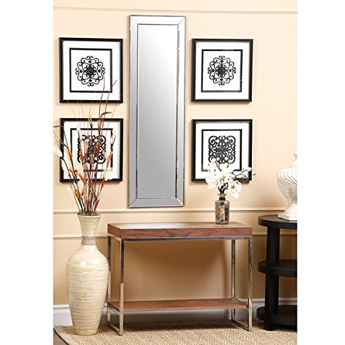 Practical and Decorative Loft, Silver Framed Rectangular Wall Mirror, Hang the Mirror on a Bedroom or Bathroom Wall or on the Back of a Heavy Wood Door