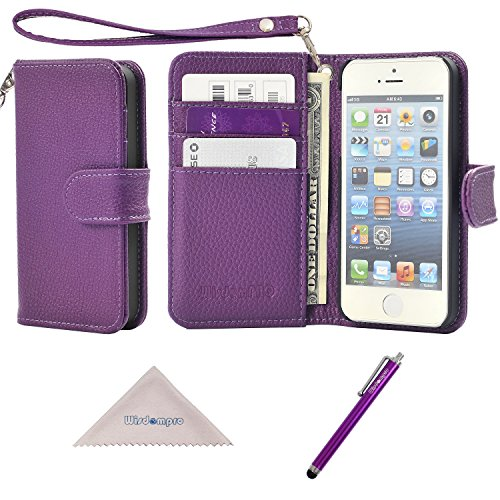 iPhone SE 5s 5 Case, Wisdompro Premium PU Leather 2-in-1 Protective [Folio Flip] Wallet Case with Multiple Credit Card Holder Slots and Wrist Lanyard for Apple iPhone SE/5s/5 (Purple)