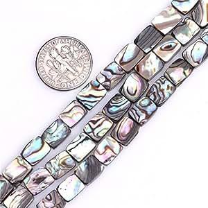 (12x16mm, Rectangle Abalone) - 12x 16mm Flat Rectangle Natural Abalone Shell Beads Semi Precious Gemstone Beads for Jewellery Making Strand 38cm (25pcs)