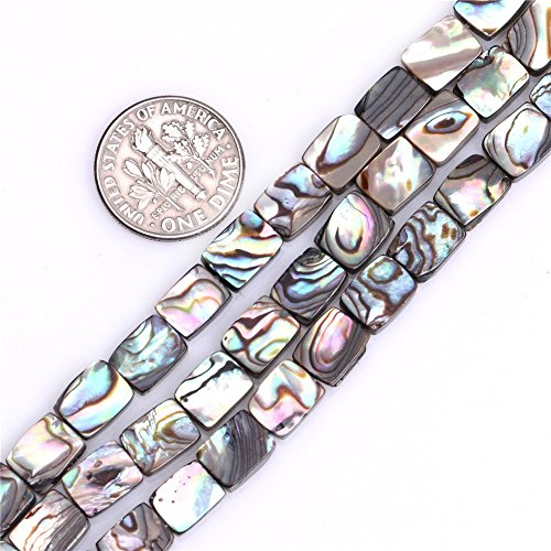 Shell Flat Rectangle Beads - 8x10mm Flat Rectangle Natural abalone Shell Beads Semi Precious Gemstone Beads for Jewelry Making Strand 15 Inch (40pcs)