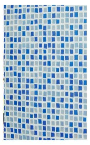 Carnation Home Fashions 6-Feet by 6-Feet Vinyl Print Shower Curtain, Mosaic Blue