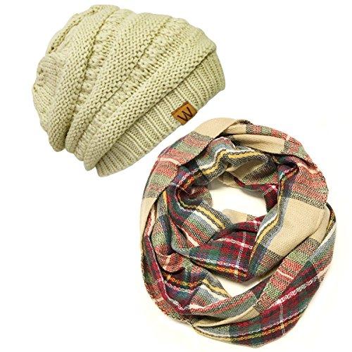 (Bowbear Tartan Winter Infinity Scarf with Beanie, Red/Green + Latte)