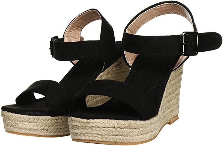 SHOWHOW Womens Wedge Sandals Casual Open Toe Ankle Strap Espadrilles Heels