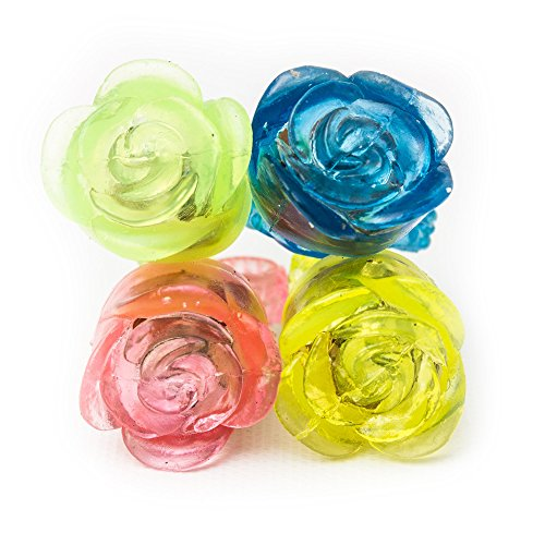 Fun Central I544 24 count LED Flashing Jelly Flower Rings, Glow Rings - for Valentine's Day Party, Glow in the Dark Party, Rave Party, Disco Party, Wedding, Birthday, Accessory, Party Favors, Rewards, Prizes, Giveaways - Assorted]()