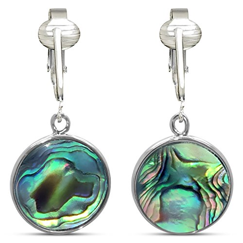 Tahitian-Style Abalone Paua Shell Clip On Earrings-Authentic Ocean Shells Romantic Holiday, Authentic (Paua Round) -