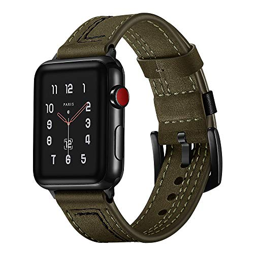 XBKPLO Motion Brown Leather Band Compatible for Apple Watch Band Series 4 42mm 44mm Series 3/2/1 Replacement Strap Cuff Bracelet