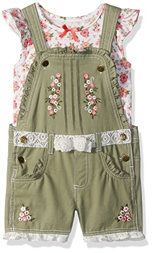 Nannette Toddler Girls' 2 Piece Shortall and Tee Set, Green, 3T by Nannette