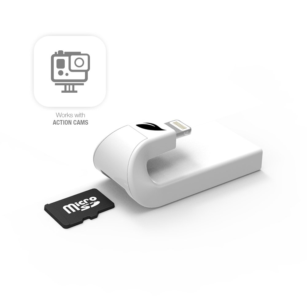 Leef iAccess iOS microSD Card Reader e Connettore Lightning, Espansione di Memoria per iPhone/iPad, Trasferisce File Dati/Foto/Video tra Dispositivi iOS/Mac/PC, Bianco LIACMWK000E1 LeefLettoremicroSD LettoreschedemicroSD
