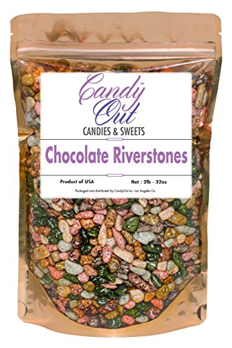 CandyOut Candy Chocolate Riverstones 2 Pound Chocorocks Riverstones in Sealed Stand Up - Stone Candy
