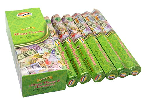 Govinda Incense - Money Drawing - 120 Incense Sticks, Premium Incense