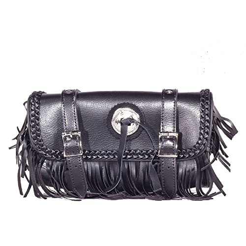 Black Motorcycle Tool Bag With Braid, Fringes & Concho-12-Inch