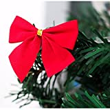 12pcs New Christmas Decoration Bowknot Christmas Tree Embellishment Gift, LLguz Happy Christmas Pendant Door Decorations Xmas Hanging Pendant Home Decoration Gifts (Red)