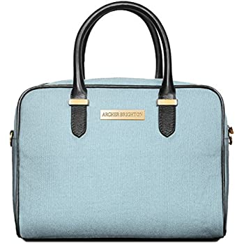 Archer Brighton Sophie Insulated Lunch Box Tote Bag. Adult Women's Professional Leather Canvas Lunch Cooler Bag for Office, Picnics & Travel - Waterproof with Shoulder Crossbody (Aqua Blue)