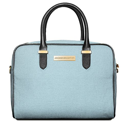 [Archer Brighton Sophie Insulated Lunch Box Tote Bag. Adult Women's Professional Leather Canvas Lunch Cooler Bag for Office, Picnics & Travel - Waterproof with Shoulder Crossbody (Aqua Blue)] (Brighton Style Tote)