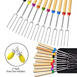 Ezire Roasting Sticks, Marshmallow Roasting Sticks, Set of 10 Barbeque BBQ Skewers, 32-inch Extendable Extended Smores & Hot Dog Fork 2-Pack Corn Holder BBQ at the Campfire