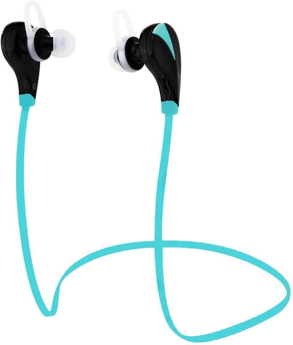 Wireless Bluetooth Sport Headphones by Amentis - Noise Cancelling Headset with Mic - Clear Stereo Sound - Steady, Comfortable, Sweat Proof Earbuds for Running (Blue)