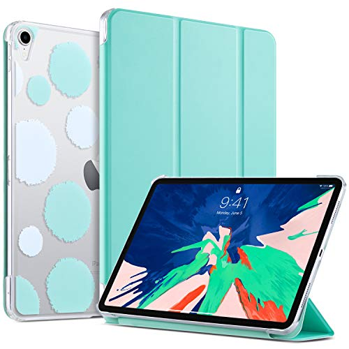 ULAK Case for iPad Pro 11 Inch 2018, Slim Lightweight Trifold Stand Smart Cover with Auto Wake/Sleep, Hard Back Clear Polka Dot Cover for iPad Pro 11 (Support 2nd Gen iPad Pencil Charging), Mint
