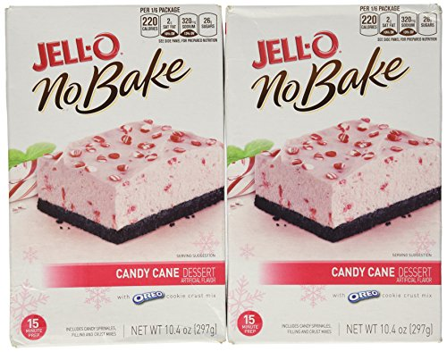 Jell-o Candy Cane No Bake Dessert with Oreo Cookie Crust (2 Pack)