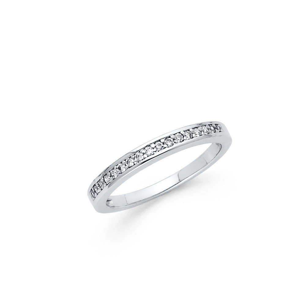 FB Jewels 925 Sterling Silver Ring 3 Row Pave Round Cubic Zirconia Womens Anniversary Wedding Band Size 7