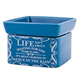 Life Learning Dance in Rain Blue Stoneware Electric 2-In-1 Jar Candle and Wax Tart Oil Warmer