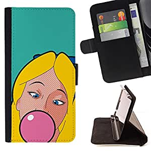 DEVIL CASE - FOR HTC Desire 820 - Chewing Gum Bubble Pink Blonde Girl Woman - Style PU Leather Case Wallet Flip Stand Flap Closure Cover