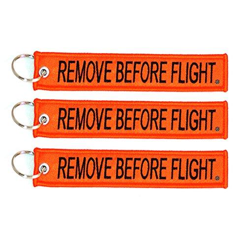 Apex Imports 3X Remove Before Flight Orange/Black Key Chain 5.5