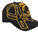 New US Warriors POW-MIA with Gold Embroidery Baseball Cap, Black