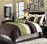 Legacy Decor 8pcs Modern Brown Sage Beige Comforter Set Bed in Bag