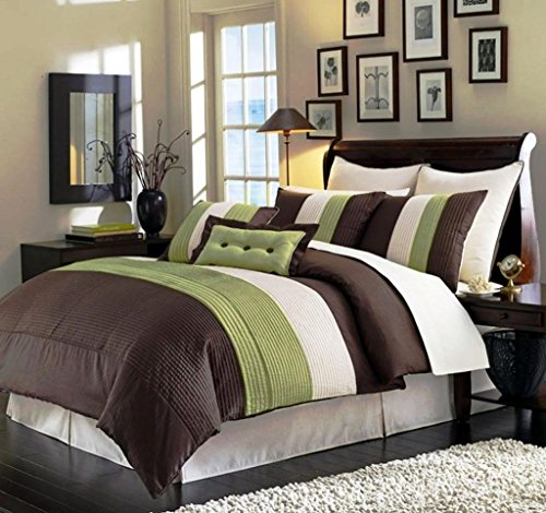 Legacy Decor 8pcs Modern Brown Sage Beige Comforter Set Bed in Bag - King Size Bedding