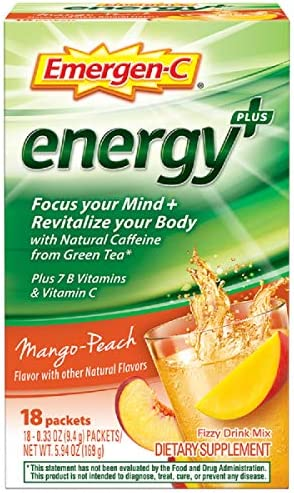 Emergen-C Energy , with B Vitamins, Vitamin C and Natural Caffeine from Green Tea 18 Count, Mango Peach Flavor Dietary Supplement Drink Mix, 0.33 Ounce Powder Packets