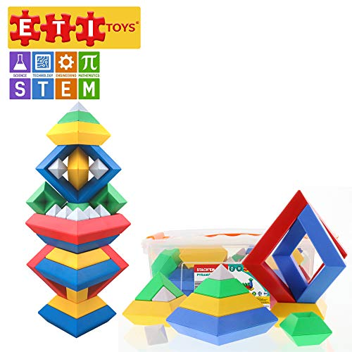 ETI Toys | STEM Learning | 30 Piece Stack'em Pyramid; Build Tree, Owl, Lighthouse, Endless Designs! 100% Non-Toxic, Fun, Creative Skills Development! Best Gift, Toy for 3, 4, 5 Year Old Boys and Girls ()