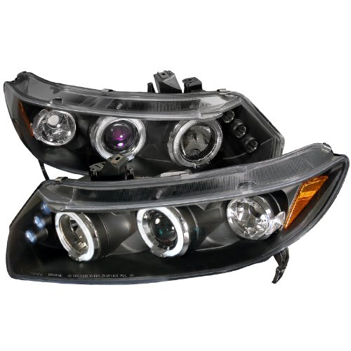 Spec-D Tuning 2LHP-CV062JM-TM Black Projector (Halo Led) (Fits Only 2006 - 2011 Honda Civic) - Honda Civic Halo Headlights