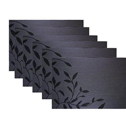 KAMIERFA 6 Stk. Edel Euro Stil Blaetter abwaschbar Kunststoff Platzmatten Tischsets Schwarz