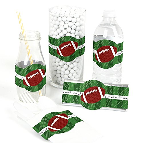 Big Dot of Happiness End Zone - Football - DIY Party Supplies - Baby Shower or Birthday Party DIY Wrapper Favors & Decorations - Set of 15