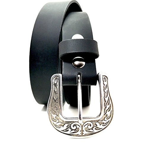 Stainless Steel Engraved Buckle in Handmade Custom Black Leather Belt American Leather Belt Co.