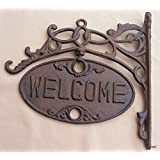 WELCOME or GO AWAY sign ornate cast iron front door plaque