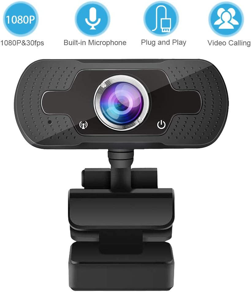 Webcam with Microphone 1080P,USB PC Webcam Streaming Computer Camera for Windows Mac Laptop Desktop,120°Wide-Angle 30fps, Large Sensor Low Light for Video Calling Conferencing Gaming