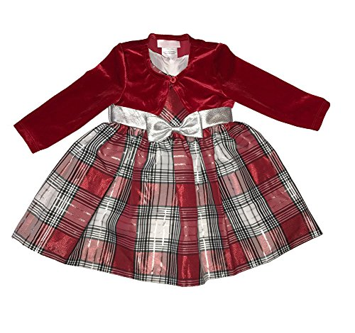 Bonnie Jean Baby Girls Taffeta Plaid Holiday Dress & Velvet Shrug, Red (18 Months) -