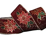 Ribbon for Wedding Gift Bouquets - Wrapping - Party Decorations - DIY Crafting 10 Yd Luxury Christmas Red Green Glitter Poinsettia Burgundy Velvet Wired Ribbon