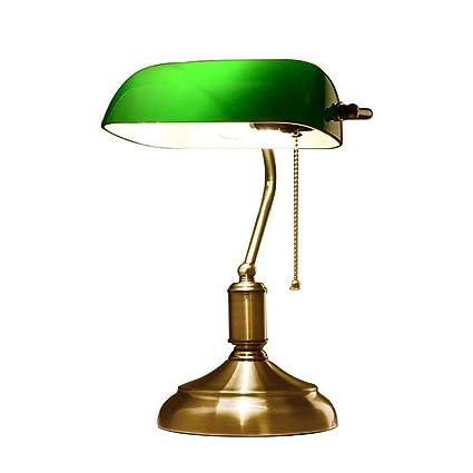 NBZH Lámpara de Mesa, Vintage Escritorio Lámpara de Lectura banqueros lámpara con Interruptor de Tirar Verde Pantalla de Vidrio Lámpara de Noche E27 ...