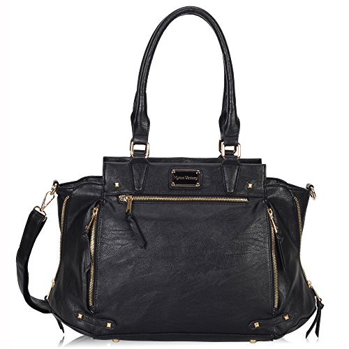 Hynes Victory Luxe Purse Vintage Shoulder Bags for Women Handbags for Work Black
