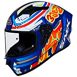 SMK Helmets – Stellar – Graffiti – Blue Red Orange – Pinlock Anti Fog Lens Fitted Single Clear Visor Full Face Helmet…