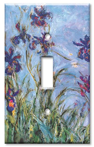 Art Plates - Monet: Irises Switch Plate - Single Toggle - Light Switch Outlet Cover Art