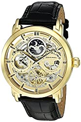 Stuhrling Original Men's 'Legacy' Automatic Stainless Steel and Leather Dress Watch, Color:Black (Model: 371.02)