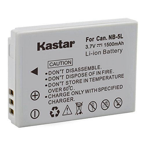 Kastar 1500mah Li-Ion NB-5L Battery NB5L Replacement for Canon PowerShot SD700 SD800 IS SD900 SD 700 800 900 Digital Camera