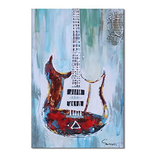 Sumeru Guitar Canvas Wall Art Paintings Abstract Music Instruments Artworks for Home Living Bedroom Office Decoration,1 Piece, 20x30 inch, Stretched and Framed