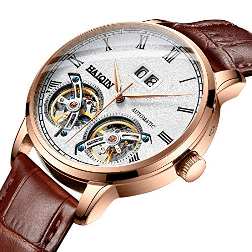 Automatic Men s Mechanical Watches Tourbillon Stainless Steel Analog Waterproof Wrist Watch for Men, Self Wind, Luminous Dial, Business Style