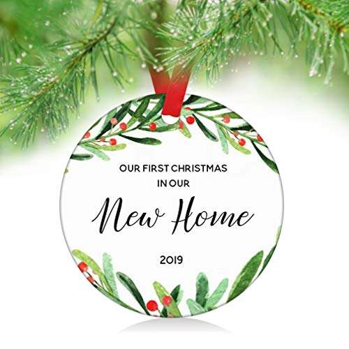 (ZUNON First Home Ornament 2019 First Christmas New Home Ornament First Home Gift Housewarming Gift Home Ornament Owner Gift Christmas Ornament Decoration (New Home)