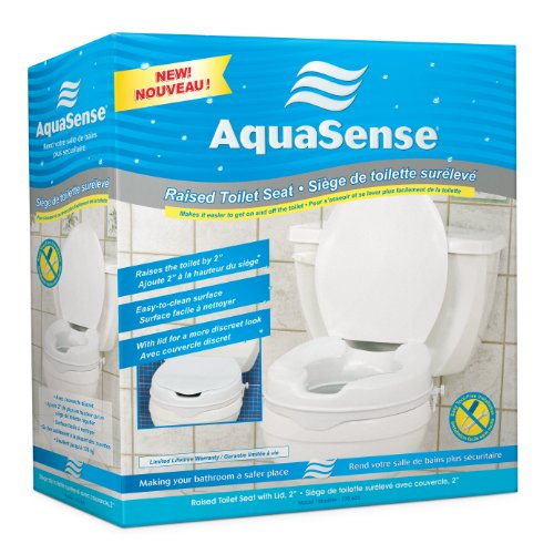 AquaSense Raised Toilet Seat with Lid, White, 2 Inches