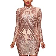 Aro Lora Women's High Neck sequin Long Sleeve Club Bodycon Party Mini Dress